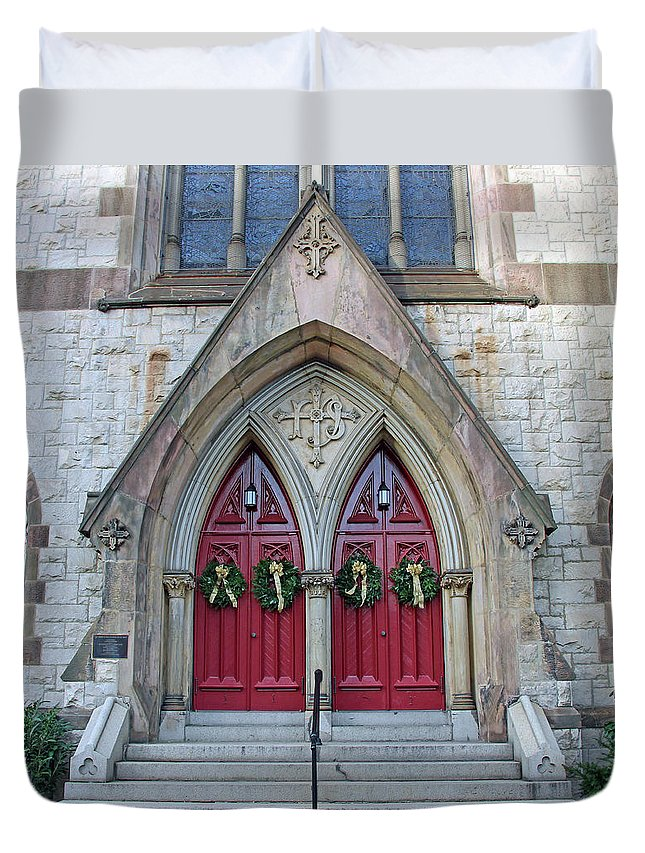 Duvet Cover featuring the photograph Christmas Wreaths On Red Church Doors by Cora Wandel