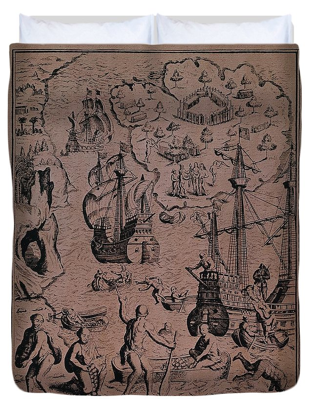 Christopher Duvet Cover featuring the drawing Christopher Colombus Discovering The Islands Of Margarita And Cubagua Where They Found Many Pearls by Spanish School