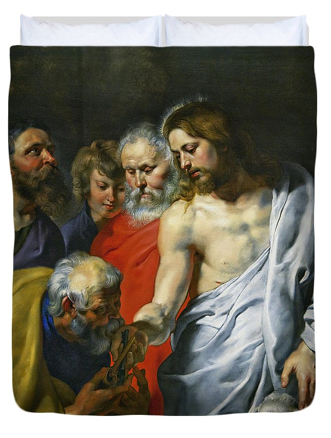 Christ's Duvet Cover featuring the photograph Christ's Charge To Peter by Sir Peter Paul Rubens
