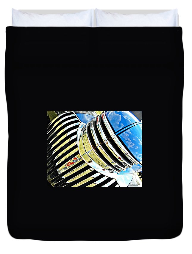 Chevrolet Duvet Cover featuring the photograph Chrome On The Chevy by Tisha Clinkenbeard
