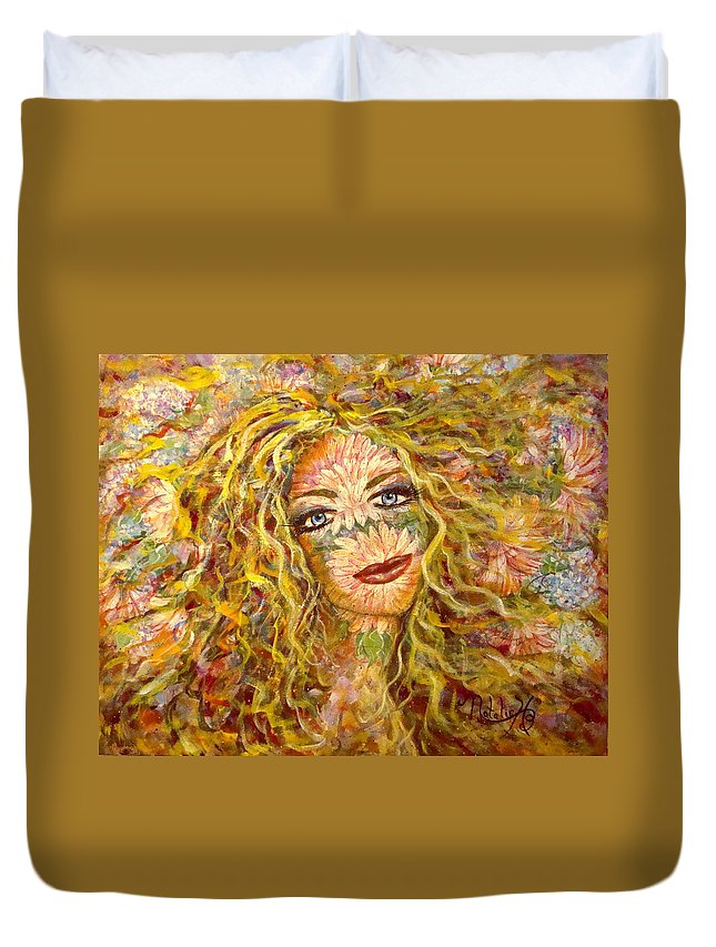 Chrysanthemum Duvet Cover featuring the painting Chrysanthemum Girl by Natalie Holland