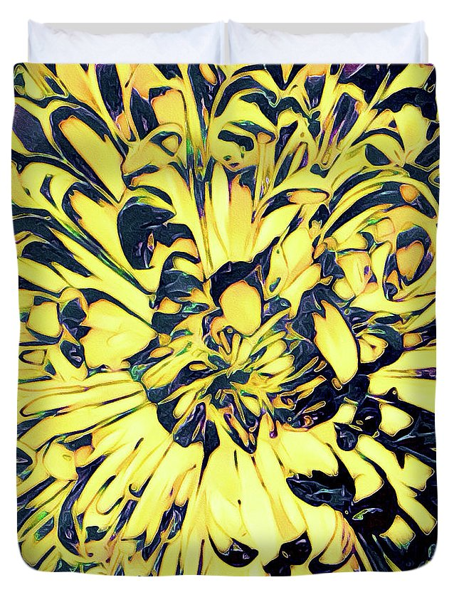 Chrysanthemum Duvet Cover featuring the mixed media Chrysanthemum Pop by Susan Maxwell Schmidt