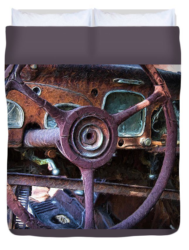 Chrysler Duvet Cover featuring the digital art Chrysler Airflow Dashboard Painterly Impression by Nick Gray