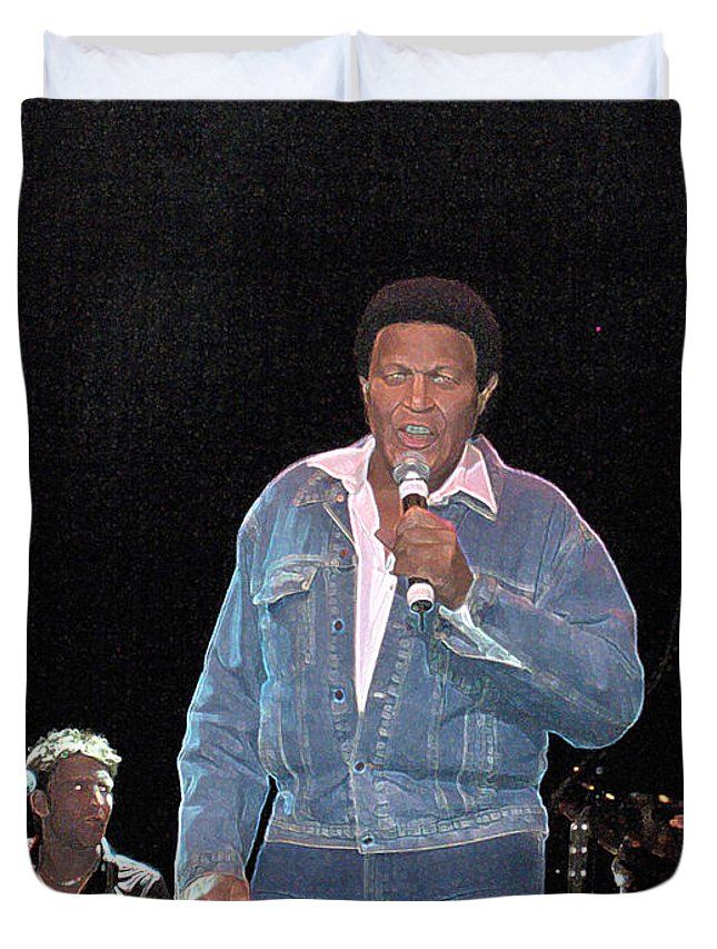Chubby Checker Singer Bands Music Blues Dance Star Concert Duvet Cover featuring the photograph Chubby Checker by Andrea Lawrence