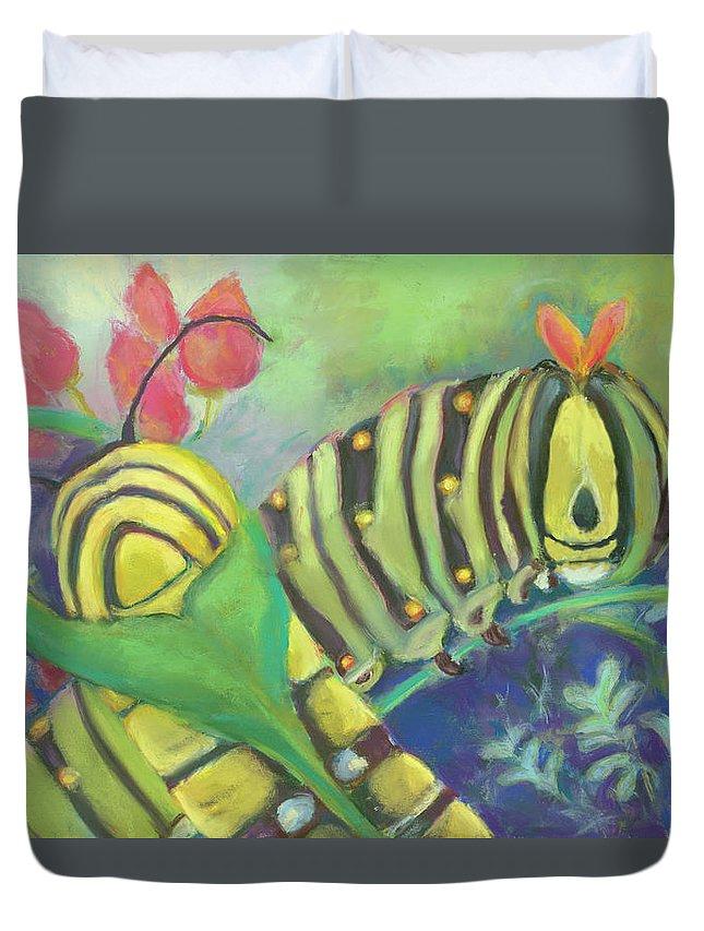 Caterpillars Duvet Cover featuring the pastel Chubby Little Caterpillars by Lori Harris