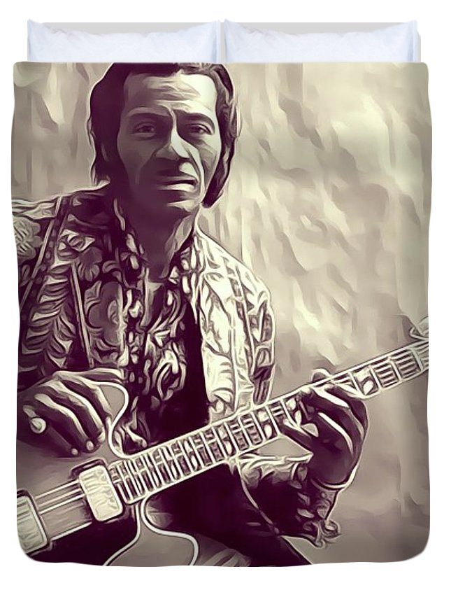 Chuck Duvet Cover featuring the digital art Chuck Berry, Music Legend by John Springfield