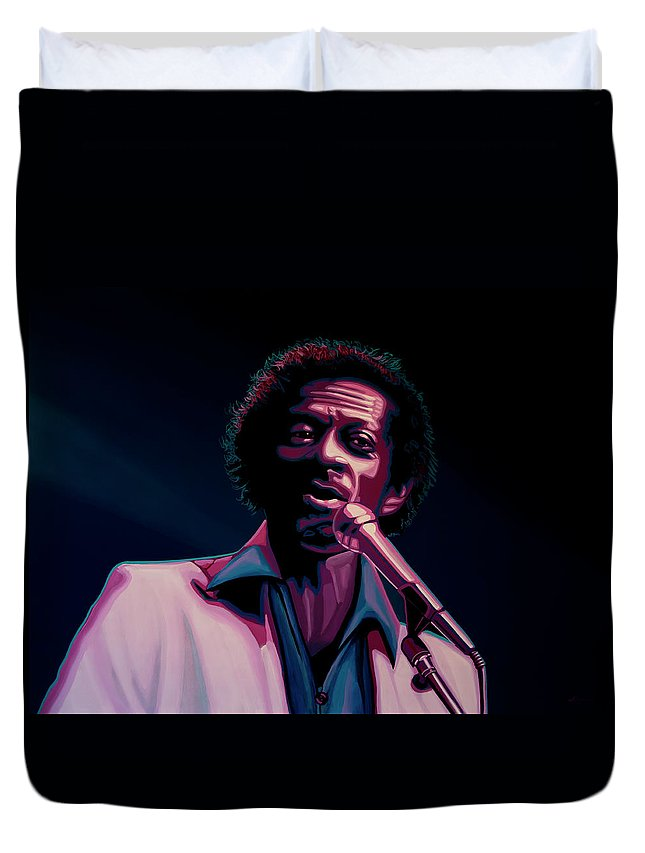 Chuck Berry Duvet Cover featuring the painting Chuck Berry by Paul Meijering