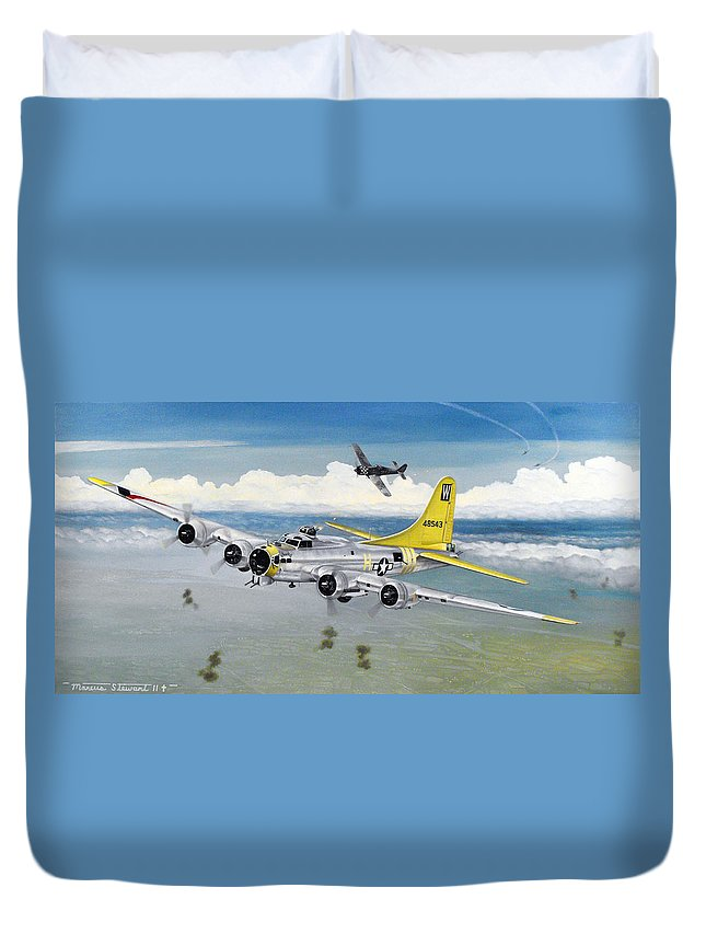 B-17 Duvet Cover featuring the painting Chuckie by Marc Stewart