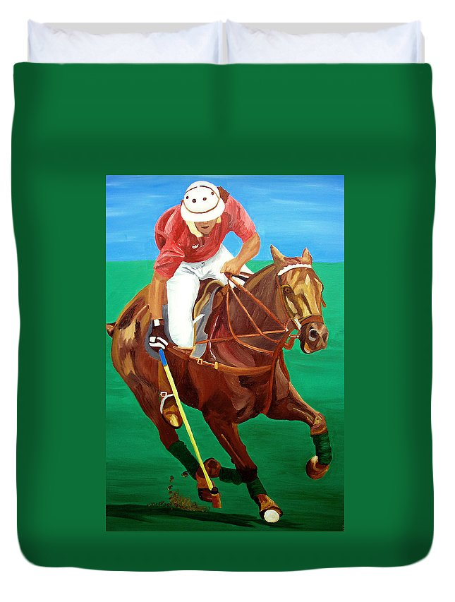 Polo Duvet Cover featuring the painting Chukar by Michael Lee