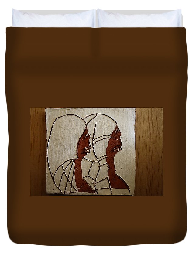 Jesus Duvet Cover featuring the ceramic art Church Day - Tile by Gloria Ssali