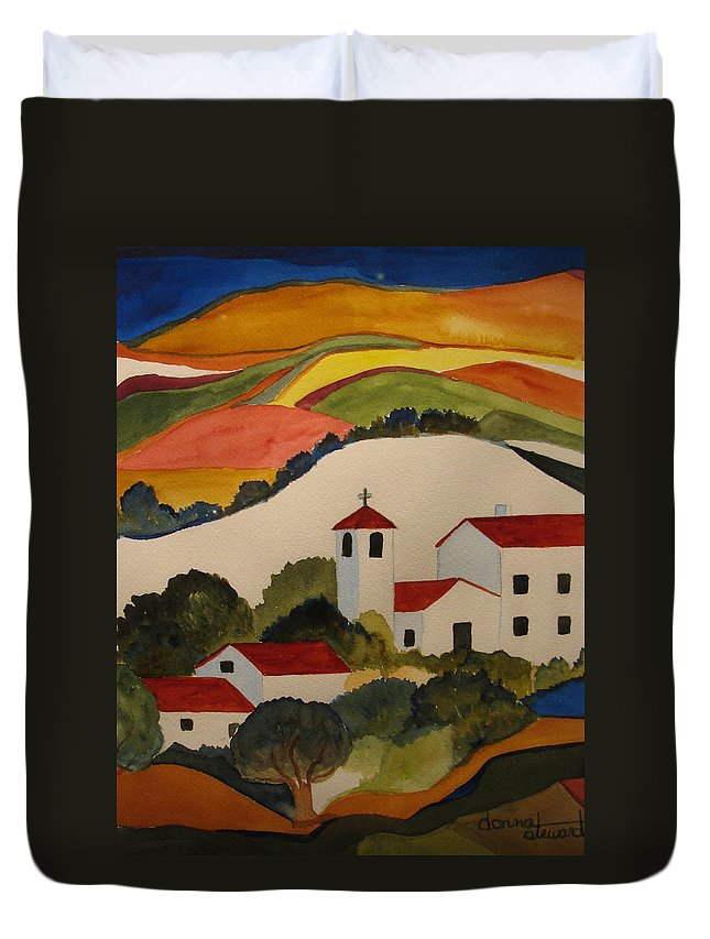 Duvet Cover featuring the painting Church by Donna Steward