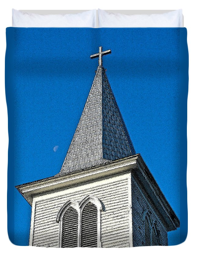Architecture Duvet Cover featuring the digital art Church Drawing by Dale Chapel