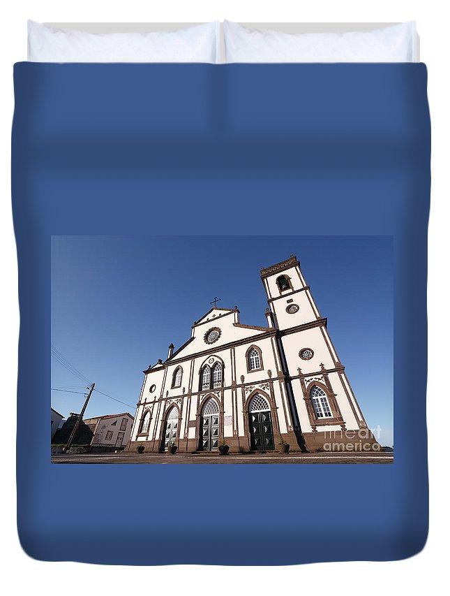 Santo Antonio Nordestinho Duvet Cover featuring the photograph Church In Azores Islands by Gaspar Avila