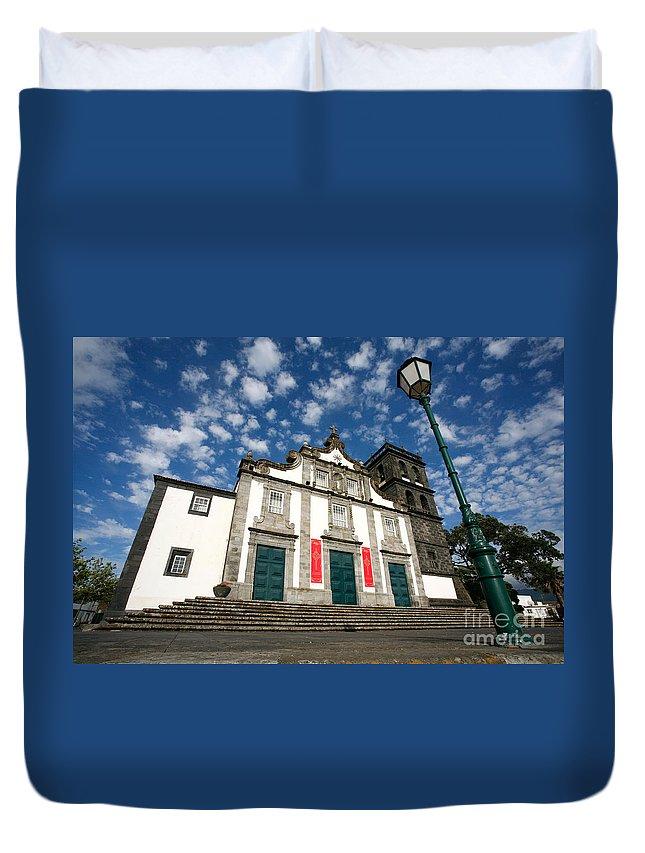 Catholic Duvet Cover featuring the photograph Church In Ribeira Grande by Gaspar Avila