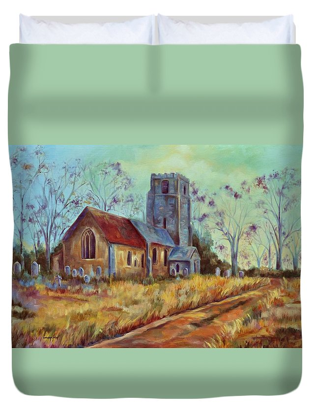 English Churches Duvet Cover featuring the painting Church In Suffolk by Ginger Concepcion