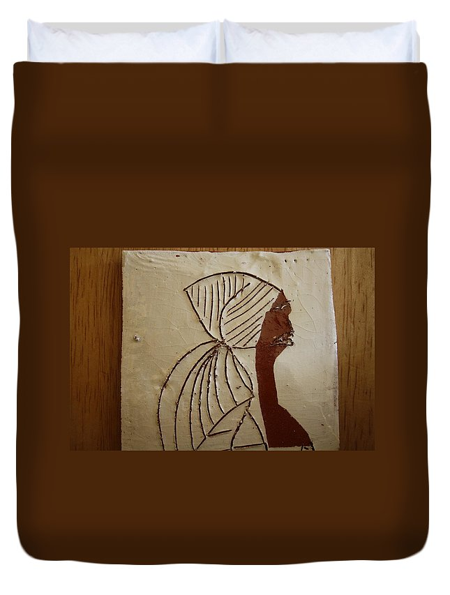Jesus Duvet Cover featuring the ceramic art Church Lady - Tile by Gloria Ssali