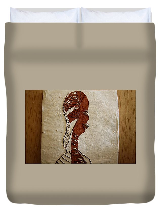 Jesus Duvet Cover featuring the ceramic art Church Lady 11 - Tile by Gloria Ssali