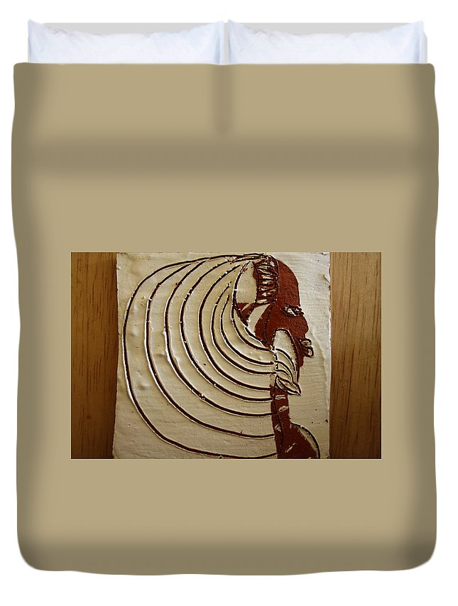 Jesus Duvet Cover featuring the ceramic art Church Lady 3 - Tile by Gloria Ssali