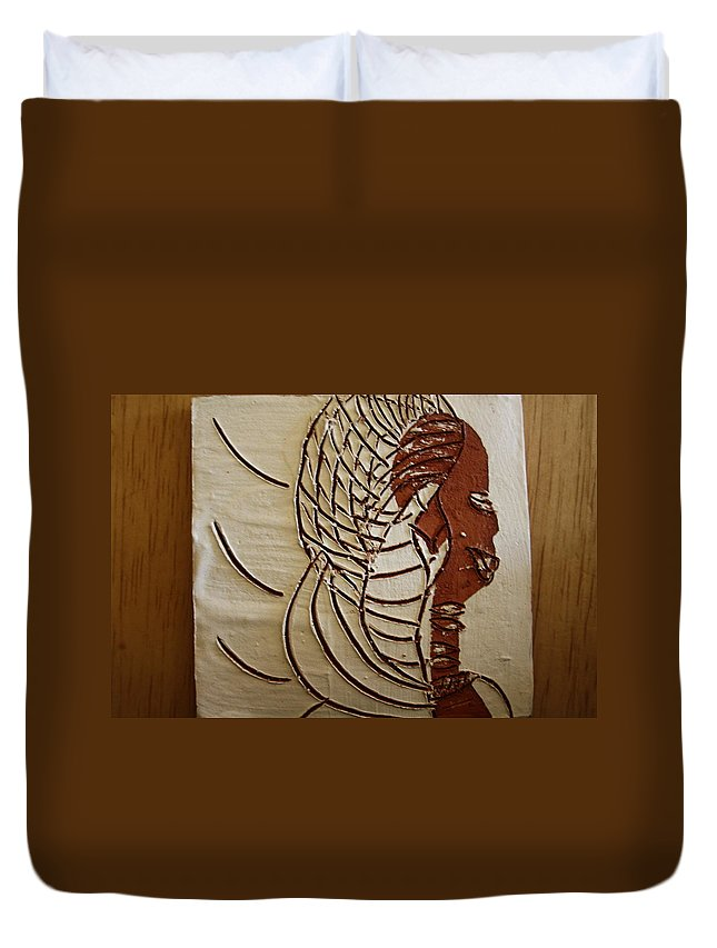 Jesus Duvet Cover featuring the ceramic art Church Lady 4 - Tile by Gloria Ssali