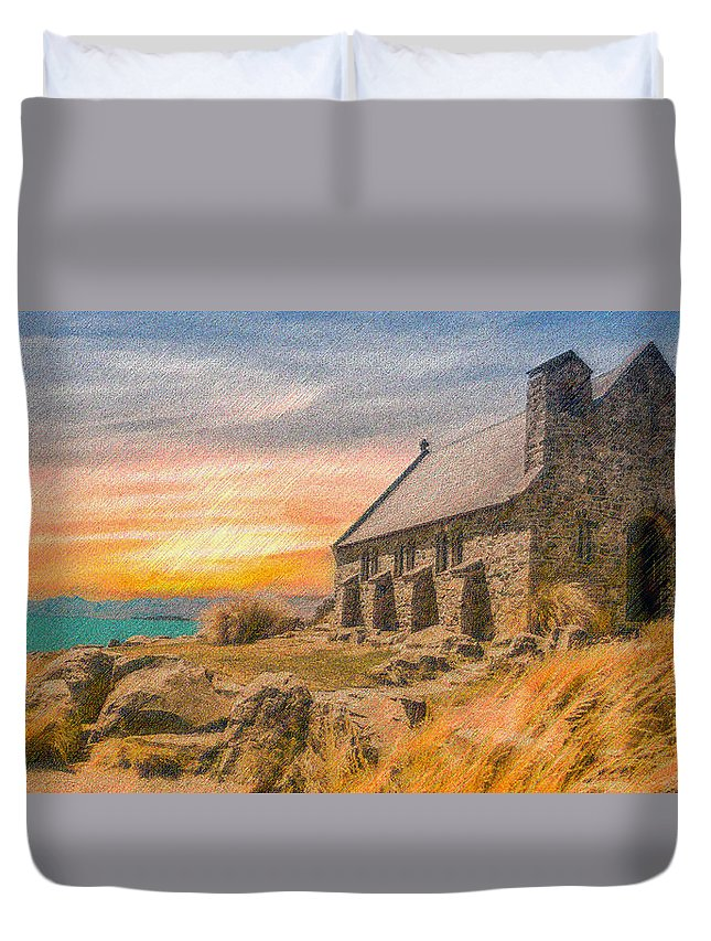 Church Duvet Cover featuring the digital art Church On The Hill by CR Beaumont