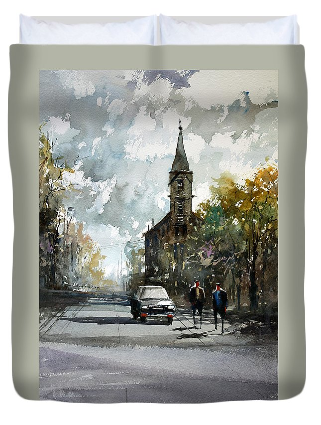 Street Scene Duvet Cover featuring the painting Church On The Hill by Ryan Radke