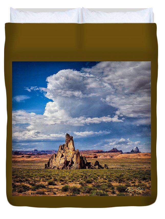 Formation Duvet Cover featuring the photograph Church Rock Thunderhead by Rikk Flohr