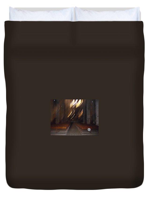 Spiritualism Duvet Cover featuring the photograph church Spirit Orb Palma de Mallorca by Lizzy Forrester