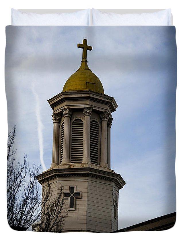 Church Duvet Cover featuring the photograph Church Steeple Nashville by Marina McLain
