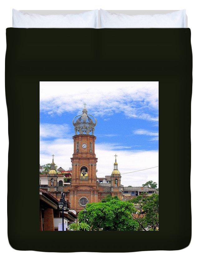 Church Duvet Cover featuring the photograph Church Steeples In Puerto Vallarta by Glenn Aker