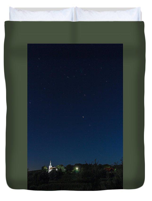 Church Duvet Cover featuring the photograph Church Under Night Sky by Zoltan Albertini