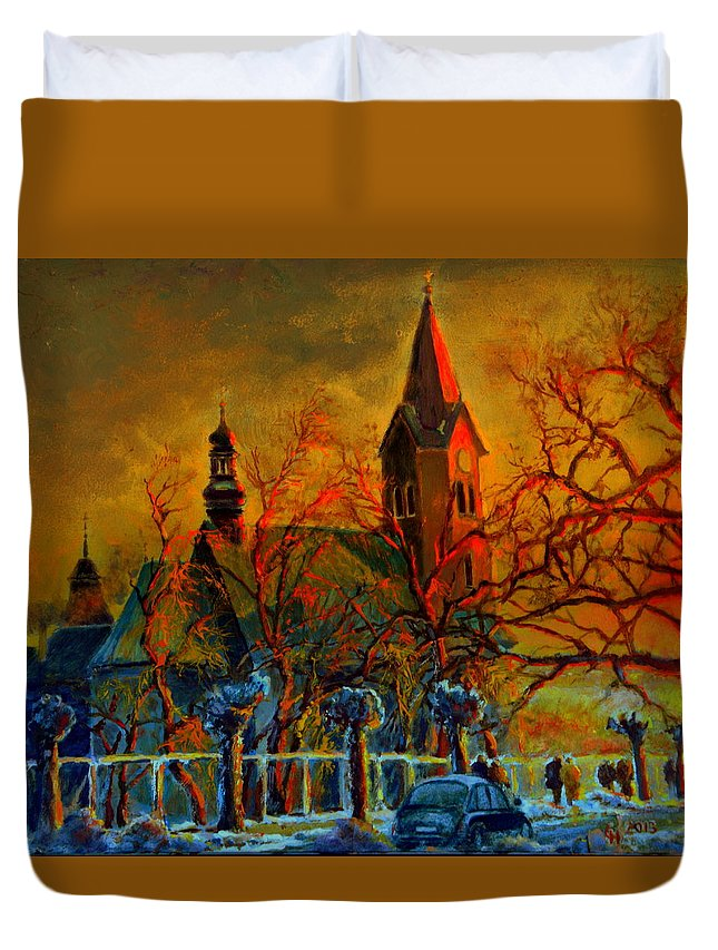 Henryk Duvet Cover featuring the painting Church Winter Sunset by Henryk Gorecki