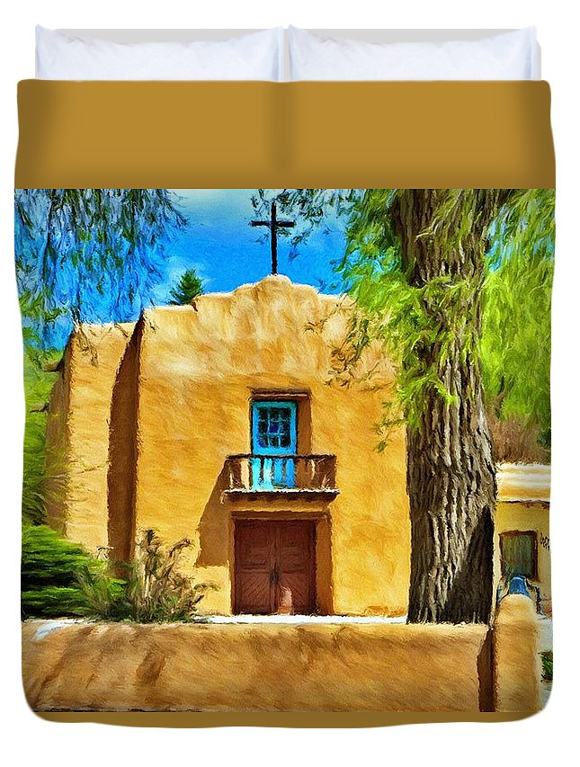 Chapel Duvet Cover featuring the painting Church With Blue Door by Jeffrey Kolker