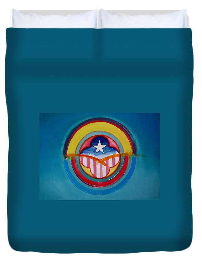 Button Duvet Cover featuring the painting CIA by Charles Stuart