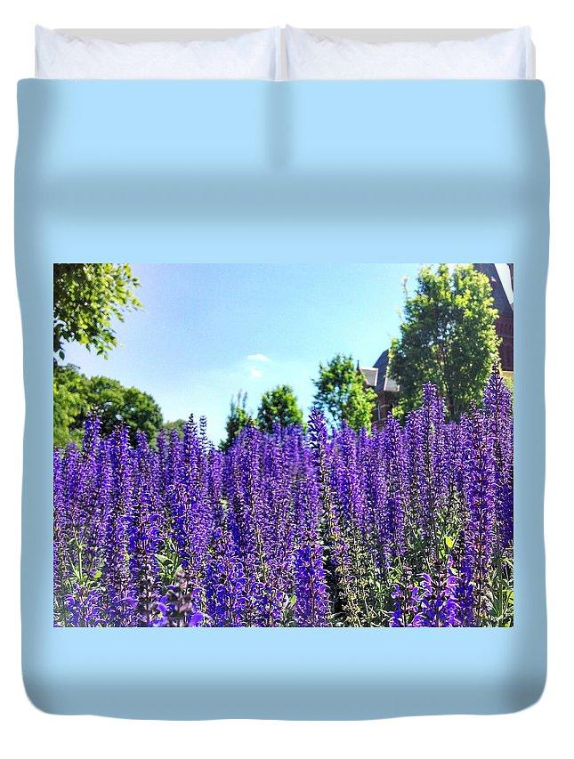 Cincinnati Duvet Cover featuring the photograph Cincy Flower Field by Brad Nellis