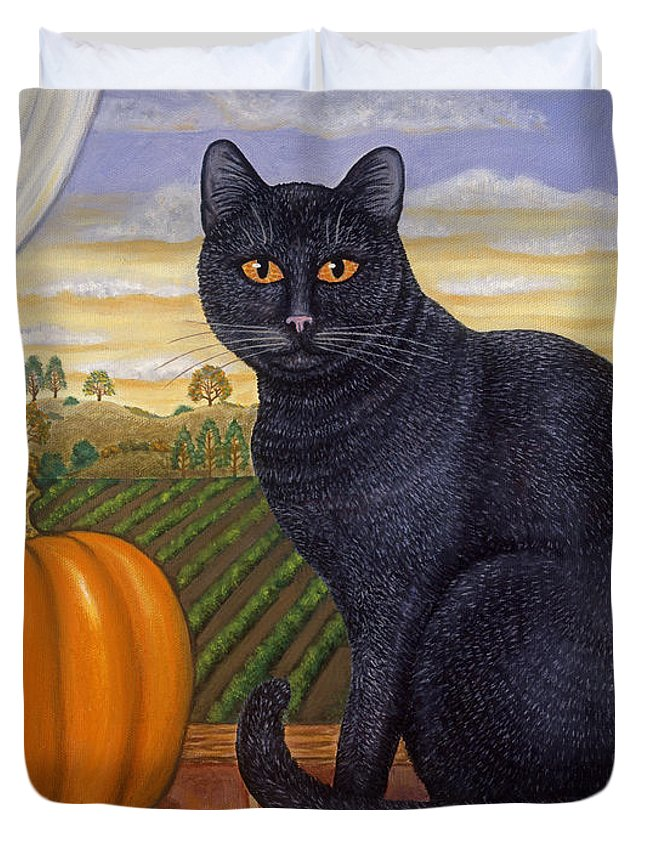 Folk Art Cat Duvet Cover featuring the painting Cinder The Cat by Linda Mears