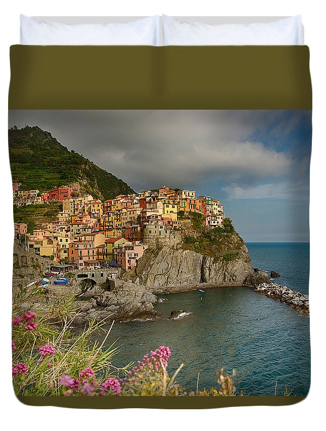 Manarola Duvet Cover featuring the photograph Cinque Terra by Andrew Rich