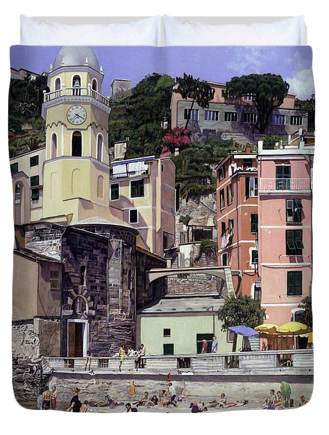 Landscape Duvet Cover featuring the painting Cinque Terra Beach by Melinda Jennings