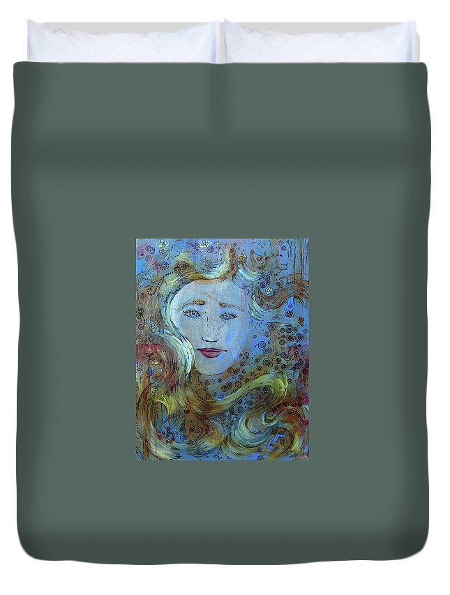 Circe Duvet Cover featuring the mixed media Circe by Jennifer Kelly