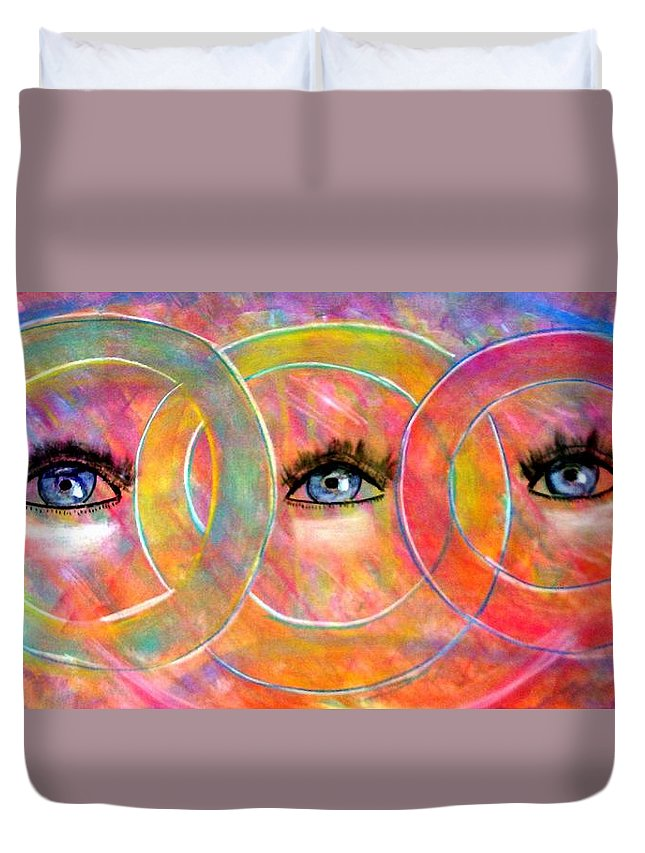 Abstract Duvet Cover featuring the pastel Circle Of Eyes by Melvin Moon