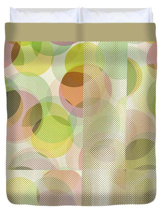 Abstract Duvet Cover featuring the digital art Circle Pattern Overlay II by Ruth Palmer