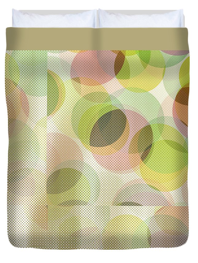 Abstract Duvet Cover featuring the digital art Circle Pattern Overlay by Ruth Palmer