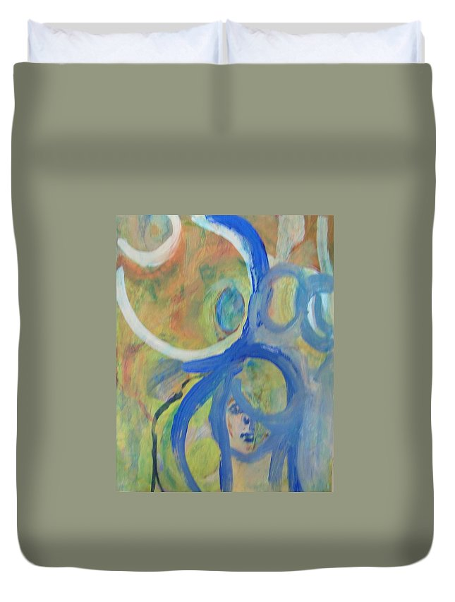 Abstract Duvet Cover featuring the painting Circles by Judith Redman