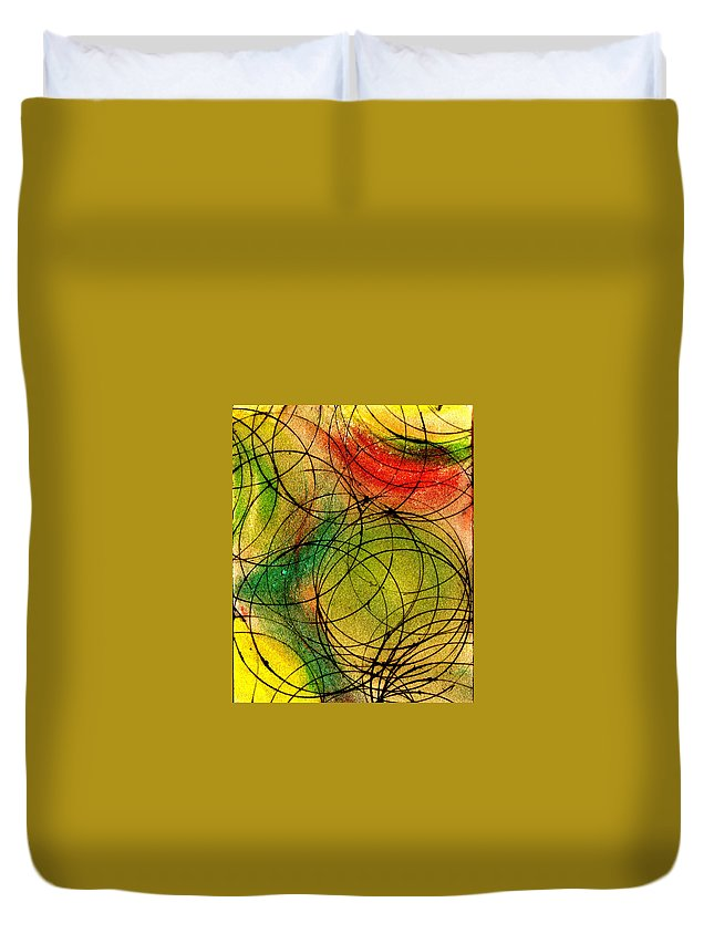 Abstract Duvet Cover featuring the painting Circles by Wayne Potrafka