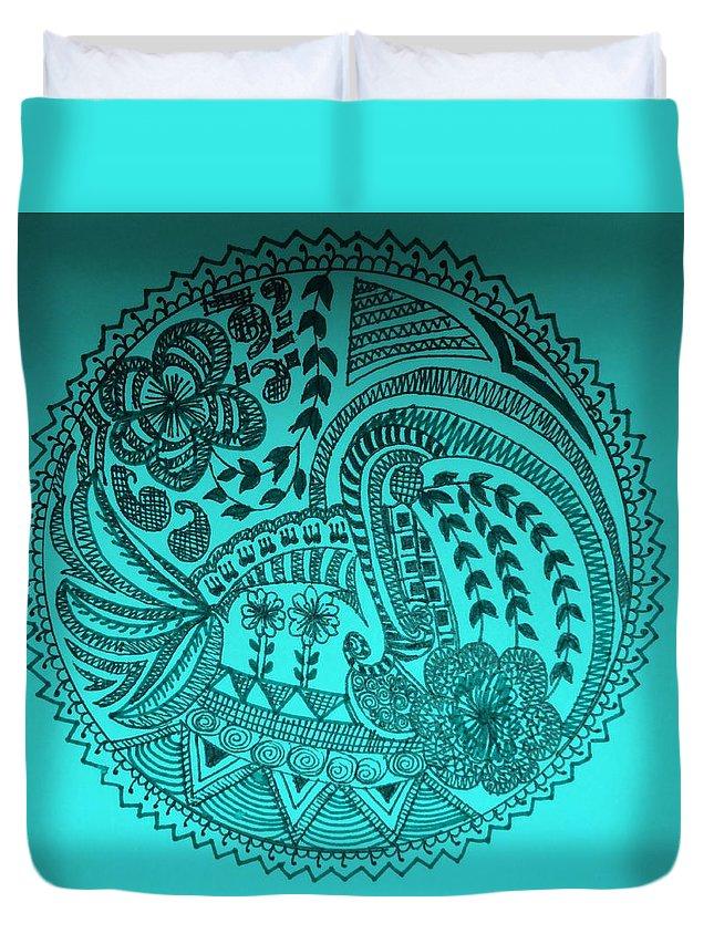 Duvet Cover featuring the drawing Circular Art by Richa Ahuja