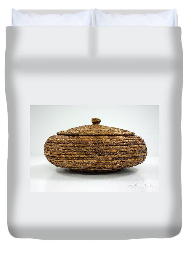 Banana Duvet Cover featuring the mixed media Circular Bound by Kerryn Madsen-Pietsch