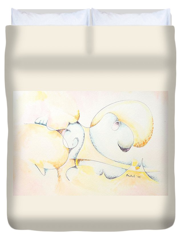 Duvet Cover featuring the painting Circular Thoughts by Dave Martsolf