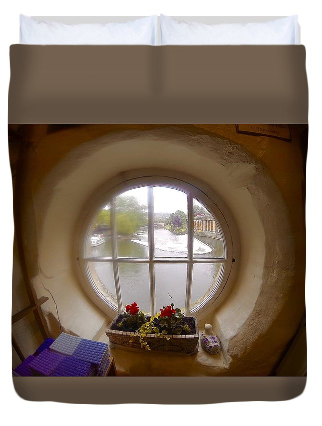 Round Window Duvet Cover featuring the photograph Circular Window by Steve Swindells