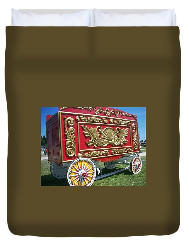 Circus Duvet Cover featuring the photograph Circus Car In Red And Gold by Anita Burgermeister