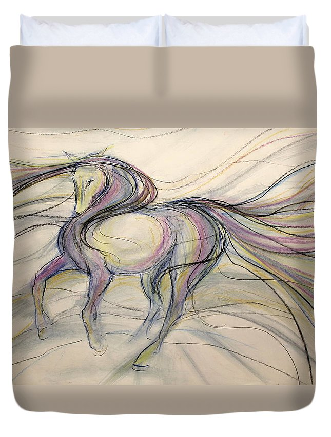 Dressage Dancing Horse Abstract Mixed Media Pirouette Equine Expression Extension Freedom Grand Prix Music Racing Racehorse Impulsion Lipizzaner Musical Freestyle Lightness Majestic Passage Piaffee Pura Raza Espanola Quarterhorse Thoroughbred Arabian Andalusian Balance Cadence Canter Dutch Warmblood Show Jumping Spanish Sporthorse Strength Submission Trakehner Transitions Westphalian Colorful Animal Whimsical Tempi Changes Gypsy Vanner Stallion Elasticity Eventing Equitation Equestrian Half-pass Duvet Cover featuring the mixed media Circus Circles by Jennifer Fosgate