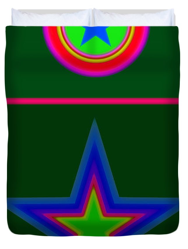 Circus Duvet Cover featuring the digital art Circus Green by Charles Stuart